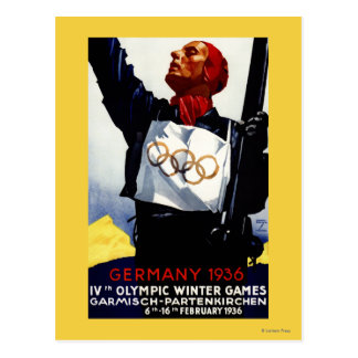 1936 Olympic Winter Games Advertisement Poster Postcard