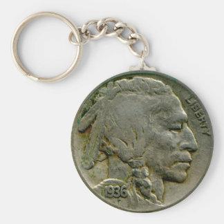 1936 US 'Buffalo' nickel heads keychain