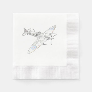 1936 WWII Spitfire Fighter Aircraft-color Paper Napkins