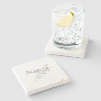 1936 WWII Spitfire Fighter Aircraft-color Stone Coaster