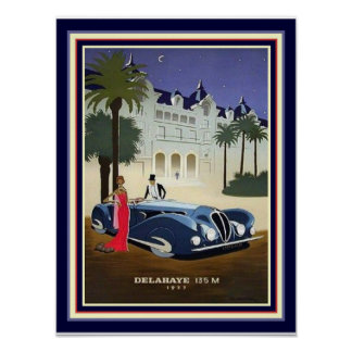 1937 Art Deco Delahaye Advertisement Print 12x16