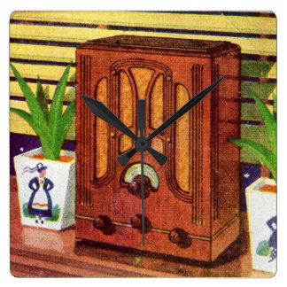 1937 cathedral radio square wall clock