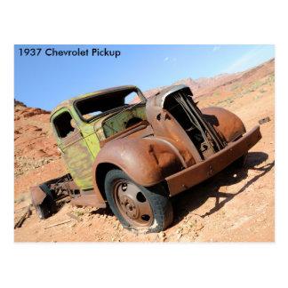 1937 Chevy Pickup in Arizona Desert Postcard