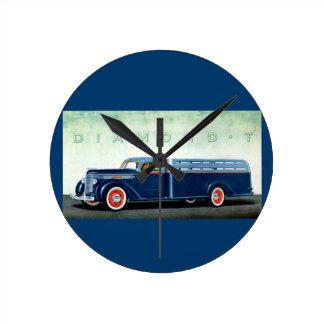 1937 Diamond T blue truck Round Clock