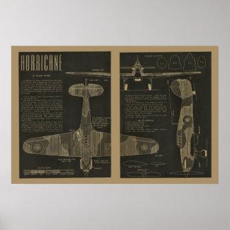1938 Aviation Hurricane Airplane Design Art Print