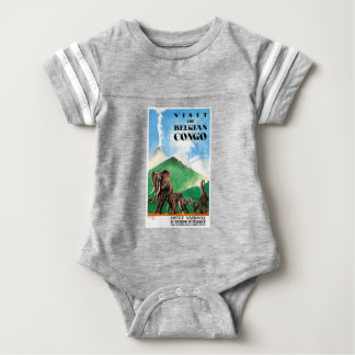 1939 Belgian Congo Elephants Travel Poster Baby Bodysuit