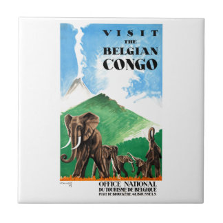 1939 Belgian Congo Elephants Travel Poster Ceramic Tile