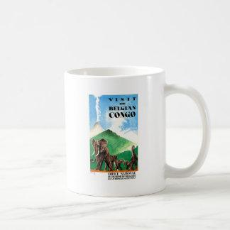 1939 Belgian Congo Elephants Travel Poster Coffee Mug