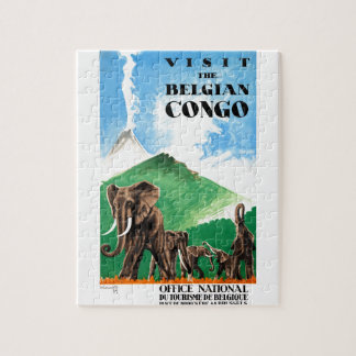 1939 Belgian Congo Elephants Travel Poster Jigsaw Puzzle