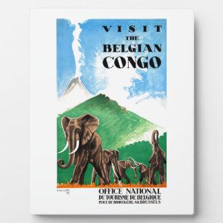 1939 Belgian Congo Elephants Travel Poster Plaque