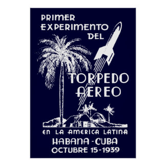1939 Cuban Rocket Mail Poster