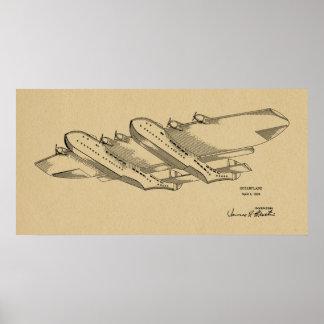 1939 Ocean Airplane Patent Art Drawing Print