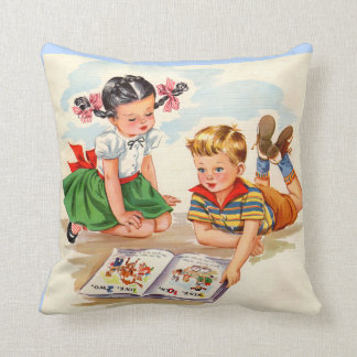 1940s adorable girl and boy and picture book cushion