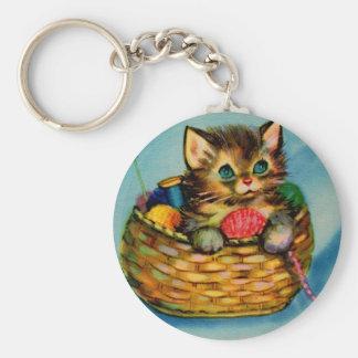 1940s adorable kitten in knitting basket basic round button key ring