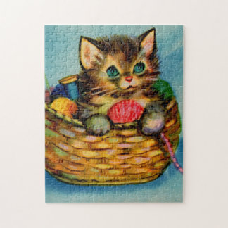 1940s adorable kitten in knitting basket jigsaw puzzle