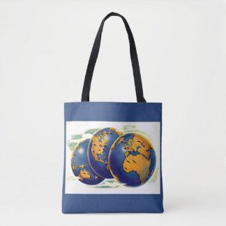 1940s as the world turns three views of earth tote bag