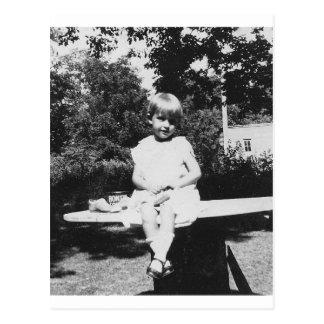 1940's Child Sitting Postcard