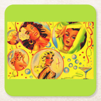 1940s glamour girls square paper coaster