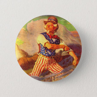 1940s heroic Uncle Sam rolls up his sleeves 6 Cm Round Badge