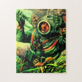 1940s illustration undersea diver jigsaw puzzle