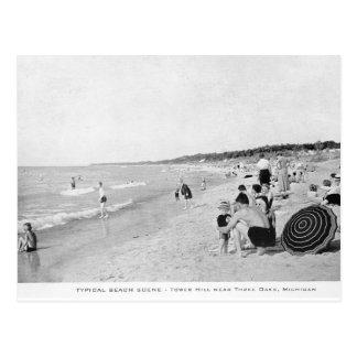 1940's Lake Michigan Beach Scene Postcard