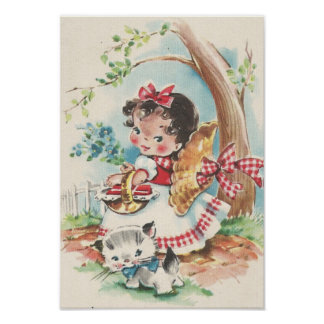 1940s Little girl with Kitten Poster