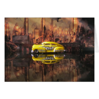 1940s miniature taxi in front of NYC backdrop Card
