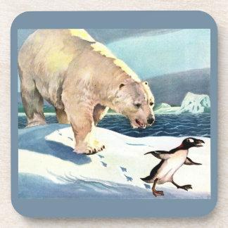 1940s polar bear and penguin coaster