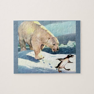 1940s polar bear and penguin jigsaw puzzle