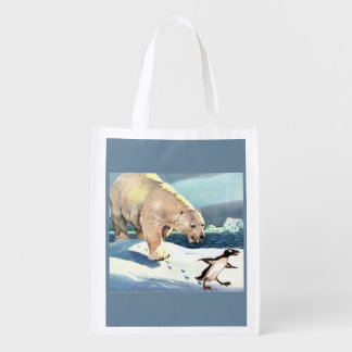1940s polar bear and penguin reusable grocery bag