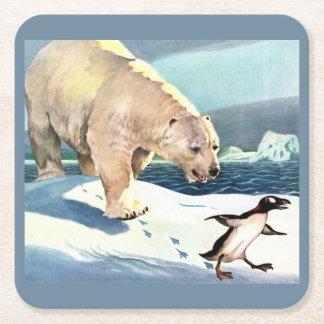 1940s polar bear and penguin square paper coaster