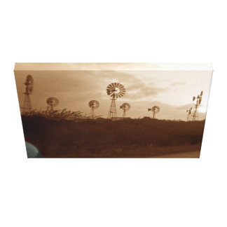 1940's Sepia Windmill Farm w/ Corized Car Fender Canvas Print