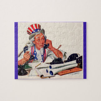 1940s Uncle Sam on the phone Jigsaw Puzzle