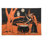 1940s Vintage Halloween Witch with Cauldron Placemat