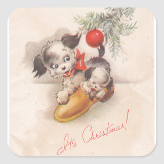 1940s Vintage Its Christmas Puppy Dogs Square Sticker