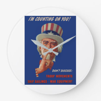 1940s warning from Uncle Sam Large Clock