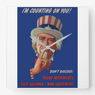 1940s warning from Uncle Sam Square Wall Clock