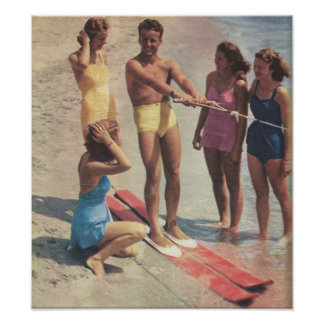 1940s Water Ski Girls in bathing suits Poster