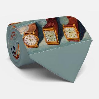 1940s wristwatches novelty print tie