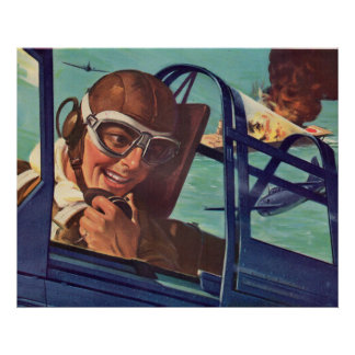 1940s WWII dogfight in the air Poster