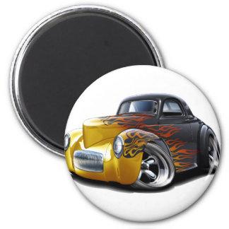 1941 Willys Black-Flames Car Magnet