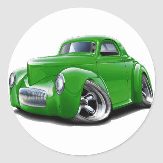 1941 Willys Green Car Classic Round Sticker