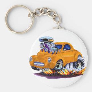 1941 Willys Orange Car Basic Round Button Key Ring