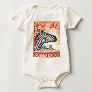 1942 Ruanda Urundi Zebra Postage Stamp Baby Bodysuit