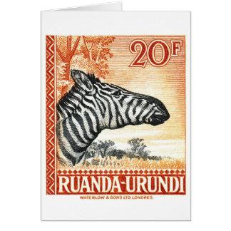 1942 Ruanda Urundi Zebra Postage Stamp Card
