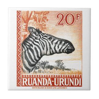 1942 Ruanda Urundi Zebra Postage Stamp Ceramic Tile
