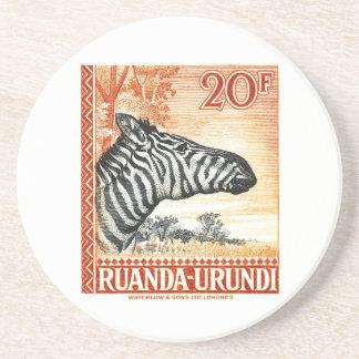 1942 Ruanda Urundi Zebra Postage Stamp Coaster