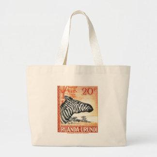 1942 Ruanda Urundi Zebra Postage Stamp Large Tote Bag