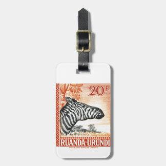 1942 Ruanda Urundi Zebra Postage Stamp Luggage Tag