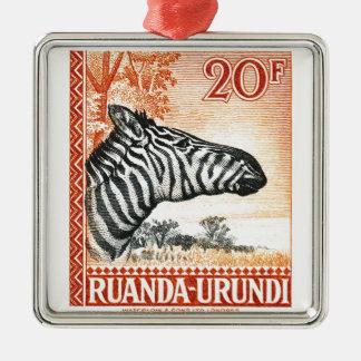 1942 Ruanda Urundi Zebra Postage Stamp Metal Ornament